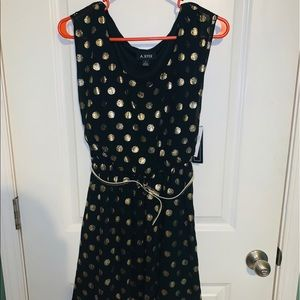 Brand new black and gold polka dot dress
